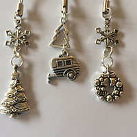 3 x christmas decoration (long) with caravan, snowflakes, christmas trees, and wreath charms