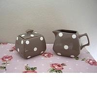 Sugar Bowl And Jug- Brown With Polka Dots