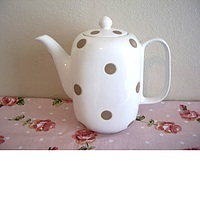 Teapot / Coffee Pot- White With Brown Spots