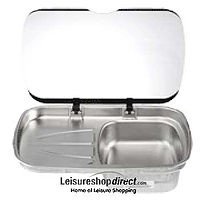 Spinflo Argent Sink and Drainer with Glass Lid - Left Hand Drainer
