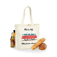 Campervan design  maxi shopping bag- We're off,  wherever whenever!- retro campervan! fab gift