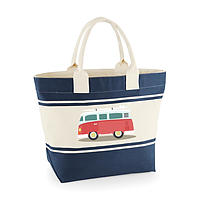 Canvas Deck Bag - Blue - Red Campervan