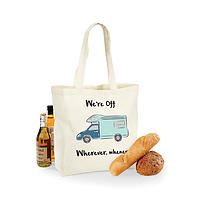 motorhome DESIGN MAXI SHOPPING BAG- WE'RE OFF, WHEREVER WHENEVER!- Motorhome sketch! FAB GIFT