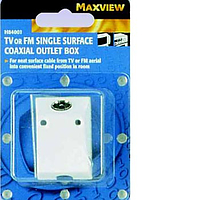 Maxview TV or FM Single Surface Coaxial Outlet Box (Blister Pack)