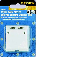 Maxview TV/FM Twin Outlet Surface Coaxial Splitter Box