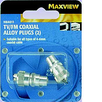 Maxview TV/FM Coxial Alloy Plugs - Blister Pack of 2