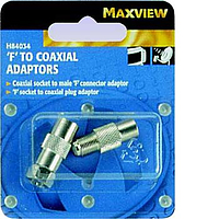 Maxview 'F' to Coaxial Adaptors. Blister pack of 2