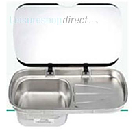 Spinflo Argent Sink and Drainer with Glass Lid - RH Drainer