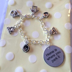 ^^^Home is where you park it^^^ bracelet with dog charms- I love dogs, top dog bowl and kennel
