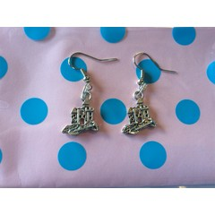 Sandcastle earrings great christmas/ birthday gift hook ear rings