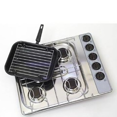 Shop Soiled - Spinflo 4 Burner Hob And Grill, Stainless Steel
