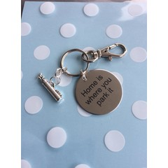 ^^^Home is where you park it^^^ key ring with golf clubs charm Perfect christmas/ birthday gift