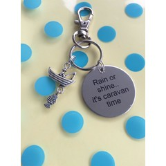 ^^^Rain or shine......it^^^s caravan time^^^ Key ring with fishing charm (fisherman boat) great christmas/ birthday gift