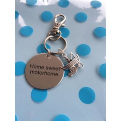 ^^^Home Sweet motorhome^^^ Key ring with fishing (fisherman and boat) charm great christmas/ birthday gift