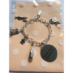 ^^^home sweet motorhome^^^ charm bracelet with wine bottle, wine glasses, gin bottle, cocktail, bottle opener and present charms Great gift