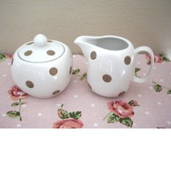 Sugar Bowl And Jug Set- White With Brown Spots