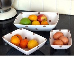 Beautiful Set Of 3 serving Bowls- White With Brown Spots