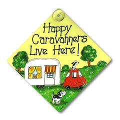Happy Caravanners live here! Smiley signs window sign