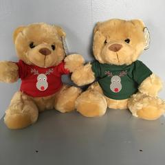 Christmas Gift Teddy in cute xmas T-shirts- Rudolf or shabby chic rose designs