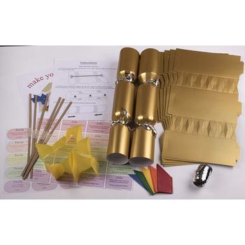 "10 X Make your own Large (14"" / 35cm) Christmas cracker kit - Gold"