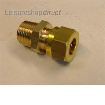 "Gas Coupling 3/8"" MT x 8mm comp"