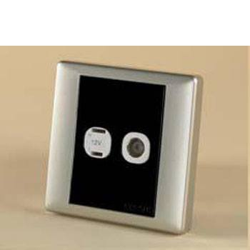 Square 2 Pin and Coaxial Socket Black / Silver Sand