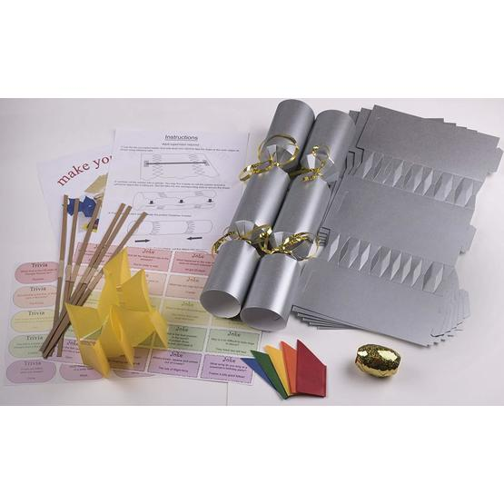 "10 X Make your own Large (14"" / 35cm) Christmas cracker kits - Silver image 1"