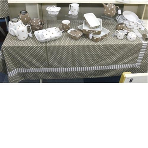 Large Table Cloth- Brown With Polka Dots And Stripes image 1