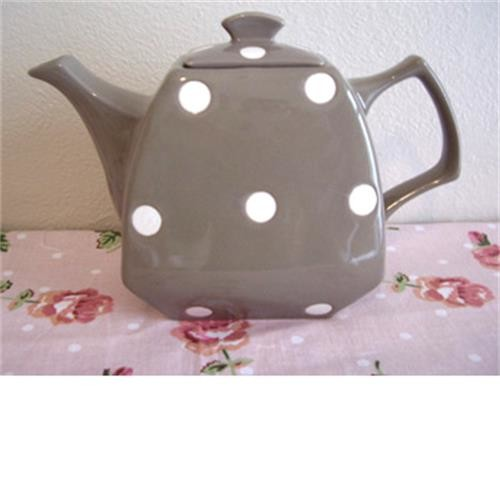 Brown Polka Dot Retro Teapot image 1