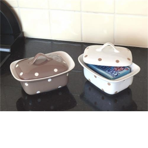 Butterdish- Brown With Polka Dots image 1