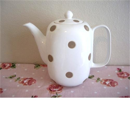 Teapot / Coffee Pot- White With Brown Spots image 1