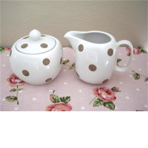 Sugar Bowl And Jug Set- White With Brown Spots image 1