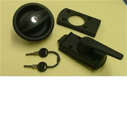 Vecam LH door lock - black without barrel and key image 1