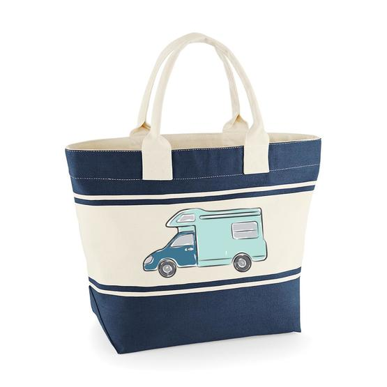 Canvas Deck Bag - Blue - Motorhome Sketch image 1