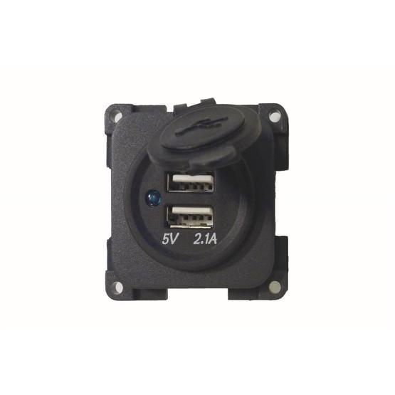 CBE 12v Twin USB Socket - Dark Grey image 1