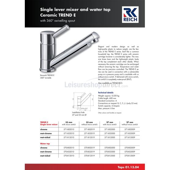 Reich Keramik Trend E Single Lever Mixer Tap 33mm with micro swtich image 2