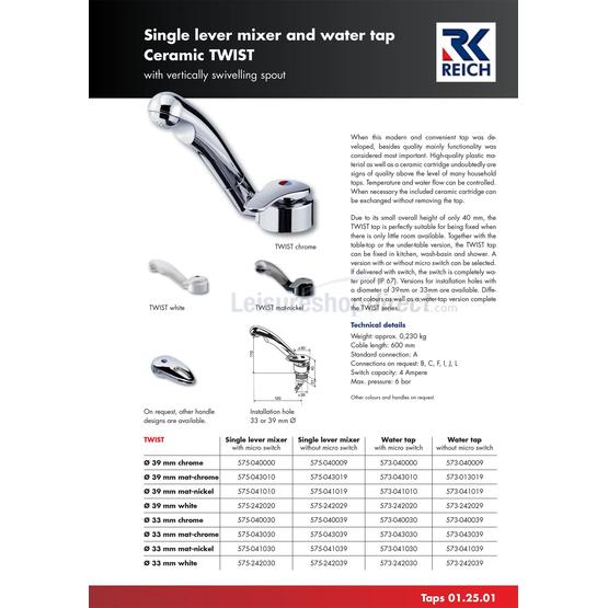 Reich Twist Mixer Tap Chrome - Right Hand image 1