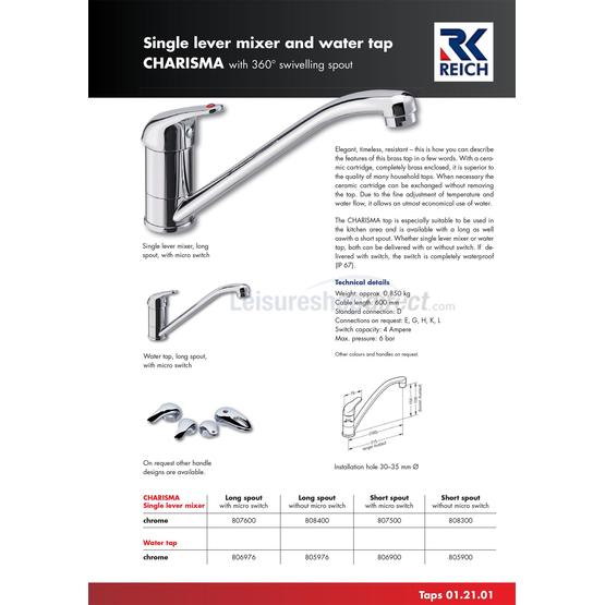 Reich Charisma Single Lever Mixer Tap with switch image 1