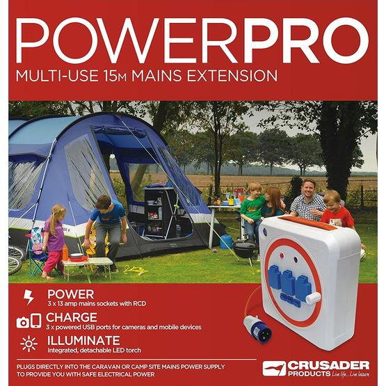 Crusader Powerpro Multi-Use 15m Extension Mobile Mains Reel Hook Up with RCD image 5