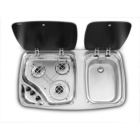 Dometic Smev MO7123 Sink & 3 Burner Hob Combination Unit image 1