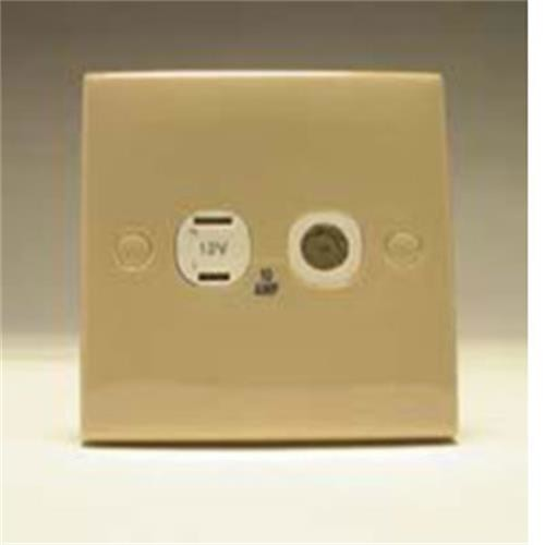 Square 2 Pin and Coaxial Socket Beige image 1