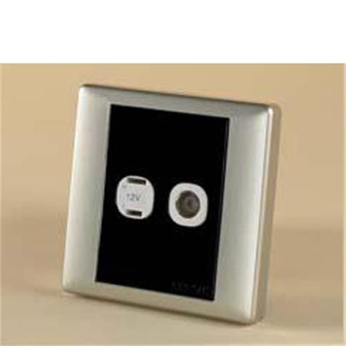 Square 2 Pin and Coaxial Socket Black / Silver Sand image 1
