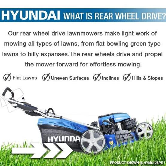 "Hyundai HYM530SPER 21"" 525mm Self Propelled Electric Start 173cc Petrol Roller Lawn Mower image 31"