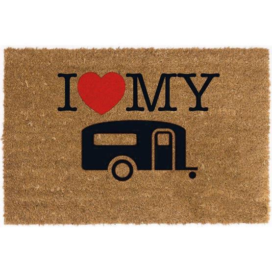 I Love My Caravan Coconut Mat image 1