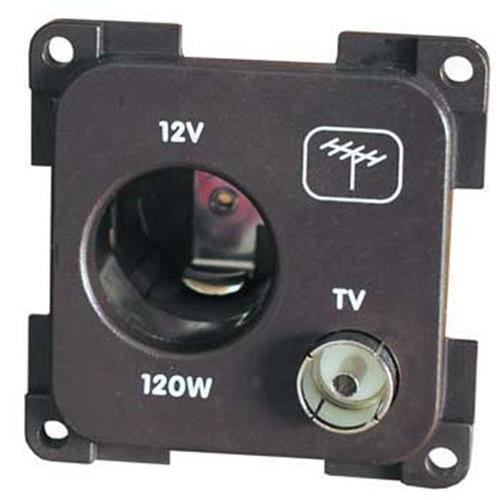 12V socket, cigarettes lighter type + TV socket
